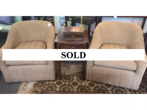 PAIR OF CUSTOM UPHOLSTERED STRIPED SWIVEL CHAIRS $495