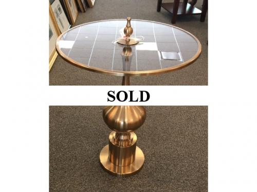 "ROUND GLASS TOP TABLE 20"" X 24"" $195"