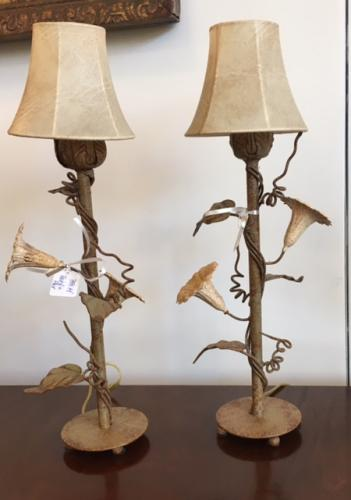 PAIR OF TOLE BEDROOM LAMPS $195