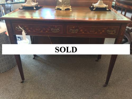 "ENGLISH ANTIQUE MAHOGANY WRITING TABLE WITH INLAY 21"" X 40"" $1895"