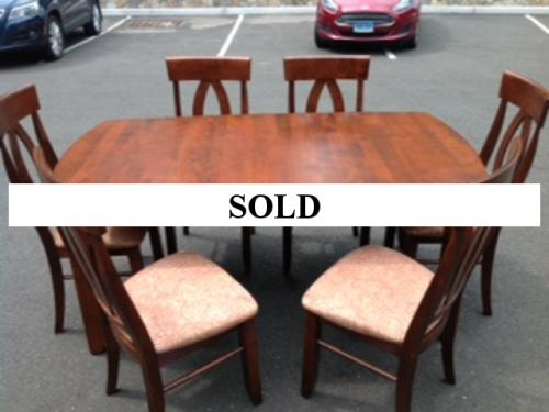 CHERRY DINING ROOM TABLE WITH ONE LEAF-$895 SET OF 6 CHAIRS-$895