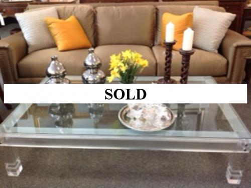 "LUCITE COFFEE TABLE 66"" X 41"" $1495"