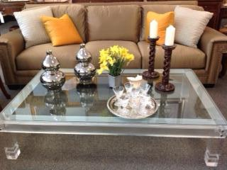 """LUCITE COFFEE TABLE 66"""" X 41"""" $1495"""