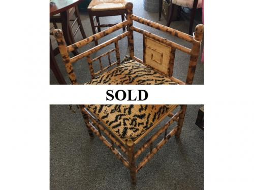 BAMBOO CORNER CHAIR WITH LEOPARD SEAT $250