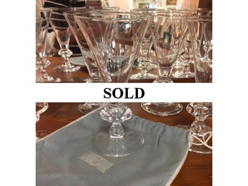 STEUBEN GLASSES WITH ORIGINAL BAGS & BOXES SET OF 12 WATER $495 -SET OF 12 RED WINE $395 - SET OF 12 CHAMPAGNE $395