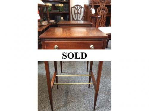 "PAIR OF ANTIQUE ENGLISH MAHOGANY SIDE TABLES 15 1/2""W X 12""D X 26 1/2""H $1895"