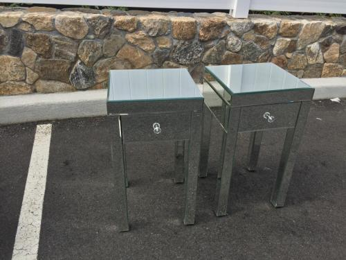 PAIR OF MIRRORED SIDE TABLES $350