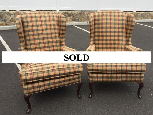 PAIR OF STRIPED WING CHAIRS $550