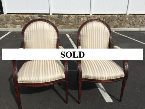 PAIR OF WALNUT ARM CHAIRS WITH BEIGE FABRIC $495