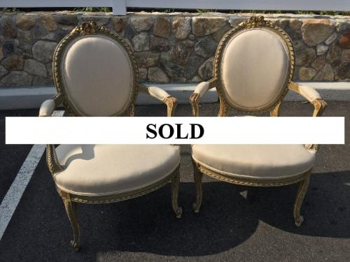 PAIR OF BEIGE UPHOLSTERED FRENCH ANTIQUE CHAIRS $495