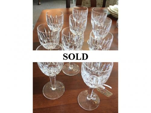 SET OF 10 WATERFORD WHITE WINE/WATER GLASSES ROSSLARE CUT $250 EACH SET
