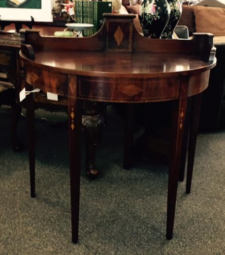 MAHOGANY DEMILUNE CONSOLE TABLE WITH INLAY $450