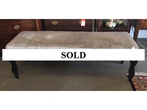 "60"" FAUX FUR GRAY BENCH WITH NAILHEADS $795"