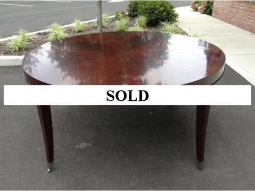 "60"" ROUND MAHOGANY DINING TABLE WITH 2 LEAVES $795"