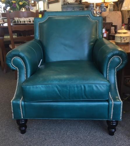 SPECTACULAR TEAL LEATHER CHAIR $1095
