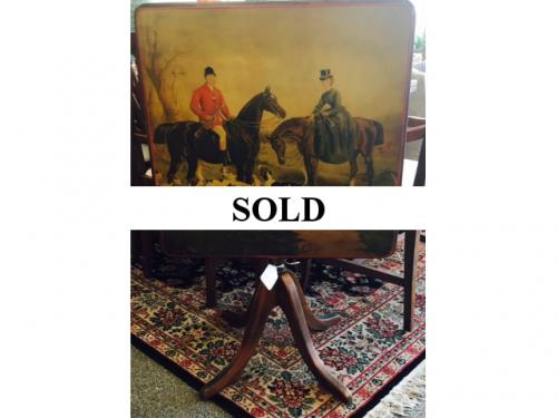 ENGLISH GAME TABLE WITH HUNT SCENE $250
