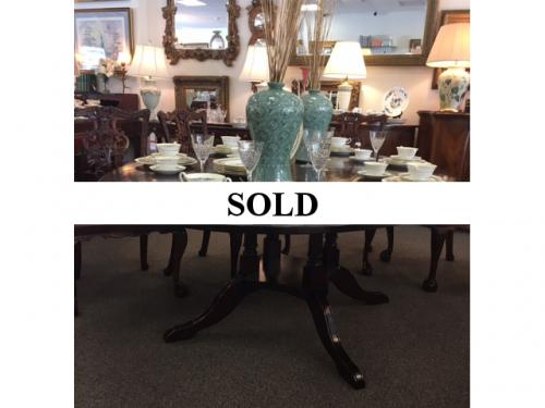"ENGLISH OVAL DINING ROOM TABLE WITH BIRD CAGE BASE 56"" X 80"" REG. $1495 PRICED TO SELL $995"