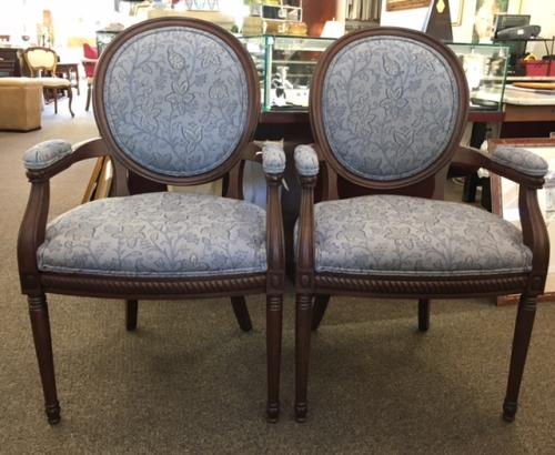 PAIR WALNUT - FRENCH STYLE ARM CHAIRS - BLUE FABRIC $495