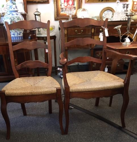 SET OF CHERRY WOOD CHAIRS WITH  RUSH SEATS   4+2 REG. $595 PRICED TO SELL $350