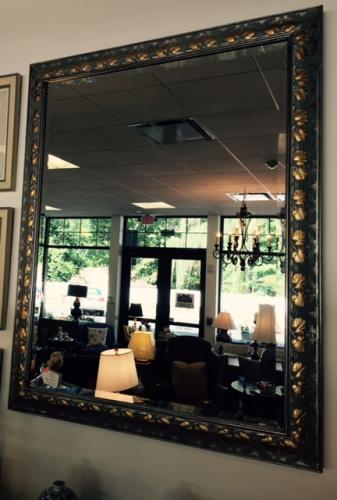 "LARGE SILVER AND GOLD LEAF MIRROR 46"" X 57"" $550"