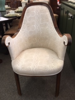OCCASIONAL CHAIR WITH BEIGE PAISLEY PRINT $295