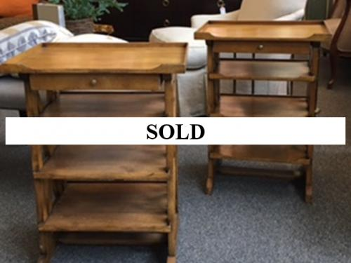 PAIR OF FRENCH WALNUT SIDE TABLES $1295
