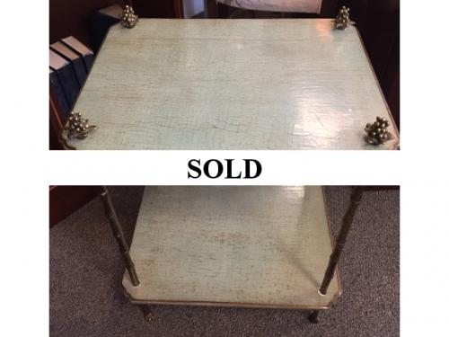 FRENCH TWO TIER GREEN TABLE WITH GOLD TRIM $295