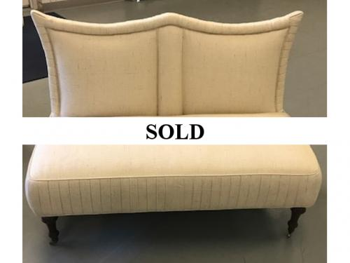 "CURVED BEIGE SETTEE 4'W X 24""D X 34""H $495"