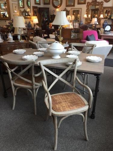 4 FRENCH HERITAGE WEATHERED CHAIRS W/ CANE SEATS $495