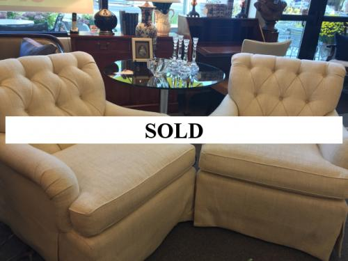 PAIR OF BEIGE TUFTED CLUB CHAIRS $595