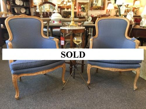 PAIR OF COUNTRY FRENCH BLUE UPHOLSTERED CHAIRS $395