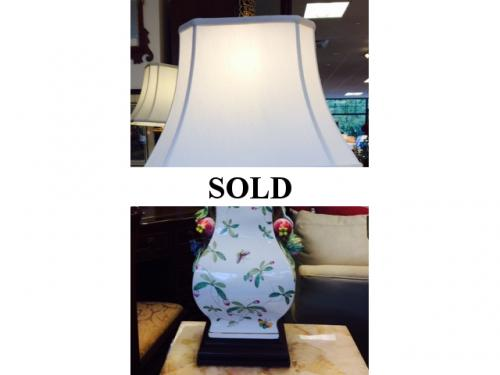 WHITE WITH GREEN POMEGRANATE LAMP $150
