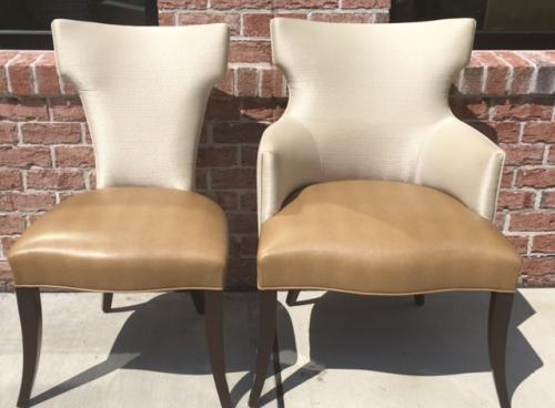 SET OF 10 PLUS 2 DINING ROOM CHAIRS WITH UPHOLSTERED BACK/FAUX LEATHER SEATS REG. $2195 PRICED TO SELL $1495