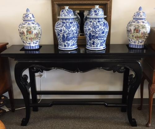 "60"" BLACK PAINTED ASIAN STYLE CONSOLE-$995"