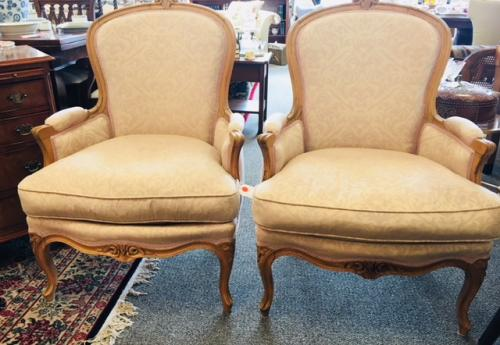 """PAIR OF FRENCH STYLE BERGERE CHAIRS 27.5""""W X 21""""D X 38""""H $550"""
