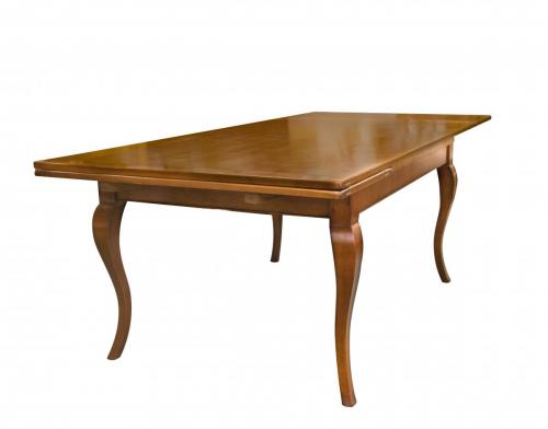English Cherry Table Draw Leaf w. Cab. leg 6′W x 42L x 30H