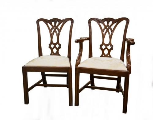 English Chippendale Mahog. DR Chairs 6 +2