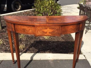 Home, Furniture & Diy Diplomatic Pair Antique French Regency Style Demi Lune Marquetry Cherub Home Console Tables