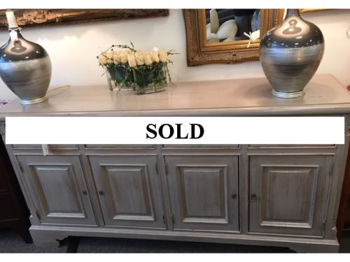 """ENGLISH PINE GRAY PAINTED CABINET 71""""W X 19""""D X 36""""H REG. $1495 PRICED TO SELL $795"""