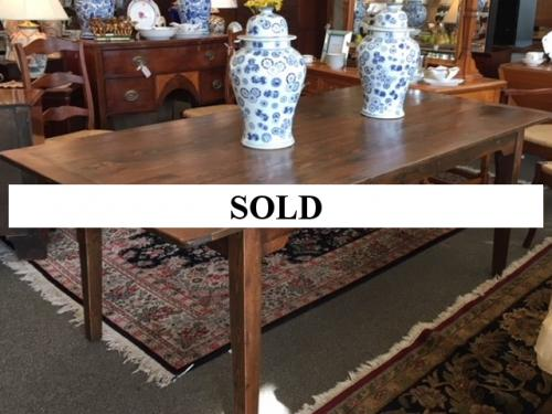 """ENGLISH PINE FARMHOUSE TABLE WITH TAPERED LEG 7'L X 40""""W X 30.5""""H $2795"""