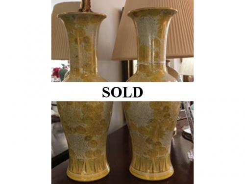 """PAIR OF YELLOW ORIENTAL VASES 21"""" TALL $195"""