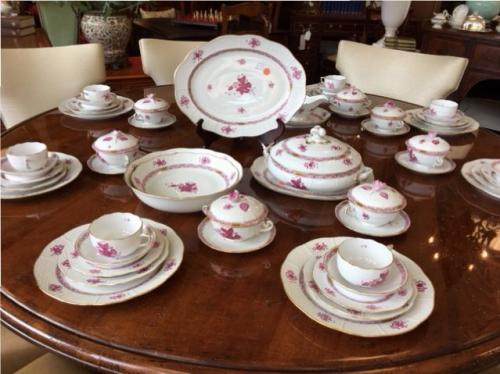 """HEREND """"CHINESE BOUQUET"""" RASPBERRY SERVICE FOR 8 REG. $4500 PRICED TO SELL $3695 (ASSORTED SERVE PIECES SOLD SEPARATELY)"""