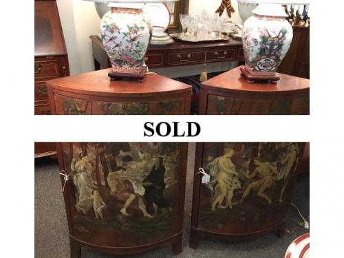 """PAIR AVAILABLE SMALL PAINTED CORNER CABINETS 23""""W X 14""""D X 36""""H $295 EACH"""