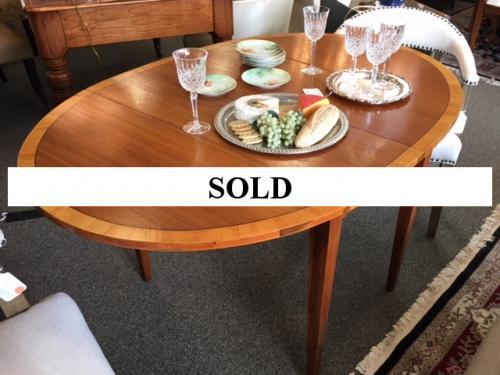 """MAHOGANY BANDED DROP LEAF TABLE W/ ADDITIONAL 12"""" LEAF  56""""L X 38""""W  X 30""""H  $450"""