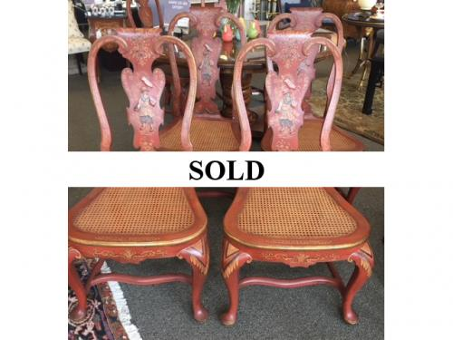 """SET OF 10 RED CHINOISERIE CHAIRS  21""""W X 18""""D X 41""""H  CONSIGNED AT $1595 REDUCED TO SELL $1115"""