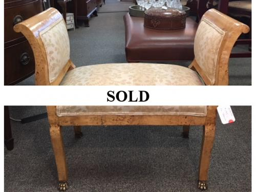 """UPHOLSTERED BENCH  32""""W X 15""""D X 28""""H  $195"""
