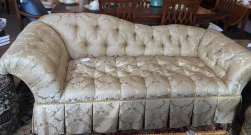 """GOLD DAMASK TUFTED SOFA 86""""W X 36""""D X 31""""H CONSIGNED AT $995 REDUCED TO SELL $495"""