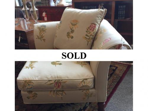 """GOLD CORNER CHAIR IN FLORAL PRINT 34""""SQ X 3'H $295"""