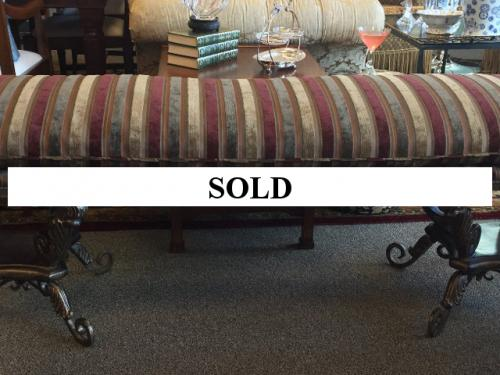 """UPHOLSTERED BENCH W/ IRON BASE STRIPE FABRIC 66""""W X 17""""D X 22""""H $495"""