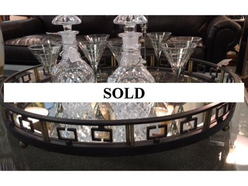 """MIRRORED OVERSIZED BRONZE TRAY 31"""" DIAMETER $395 Great for Large Ottoman"""